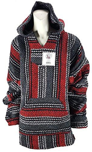 Yankee Forge XX-Large Baja Shirt - Black & Dark RED Stripe - Woven Hoodie - Soft Brushed Inside - Unisex -