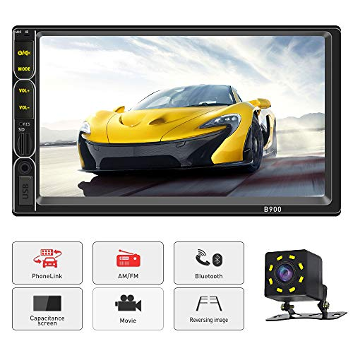 Car Stereo with Bluetooth Double Din 7 inch Full Touch Capacitive Screen AM-FM Car Radio with Mirrror Link Backup Camera Support USB/SD/AUX in Steering Wheel Control with wiress Remote Control
