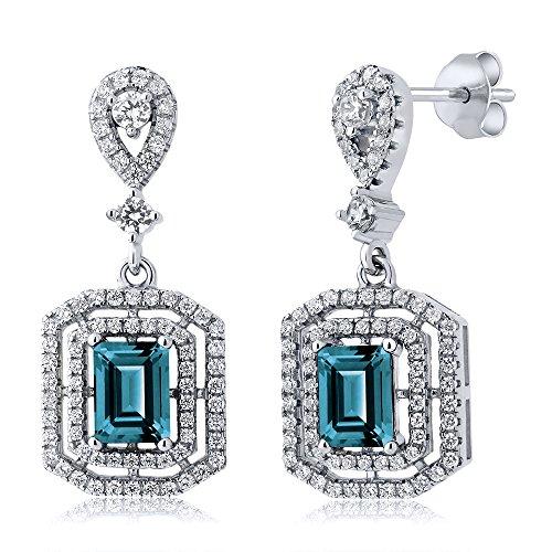 Gem Stone King 6.96 Ct Emerald Cut London Blue Topaz 925 Sterling Silver Earrings