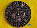 Sun Mexican Ceramic [Malaquita] Medium Size 9'' Plaque Folk Wall Art Decor (Made of real Crushed Rocks) [Hand made Mexico Artistry] Beautiful Color!