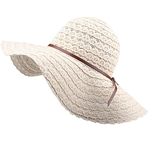 (FURTALK Summer Beach Sun Hats for Women UPF Woman Foldable Floppy Travel Packable UV Hat Cotton, Wide Brim Hat)