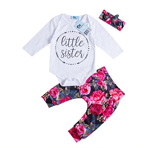 Baby Girls Little Sister Bodysuit Tops Floral Pants Bowknot Headband Outfits Set, White (0-6 Months)