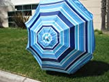 7FT. WATERPROOF 97% UVA PROTECTION BEACH UMBRELLA WITH CARRY CASE - NAUTICAL BLUE STRIPED