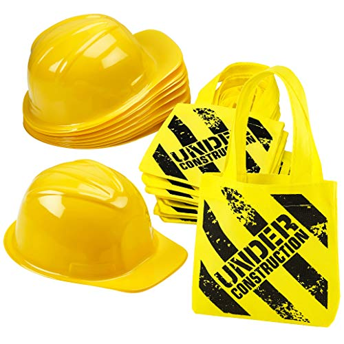 Construction Birthday Party Supplies - (24 Pack) Construction Party Hat & Mini Tote Bag Supplies - (12) Yellow Toy Hats and (12) Under Construction Goodie Bags -