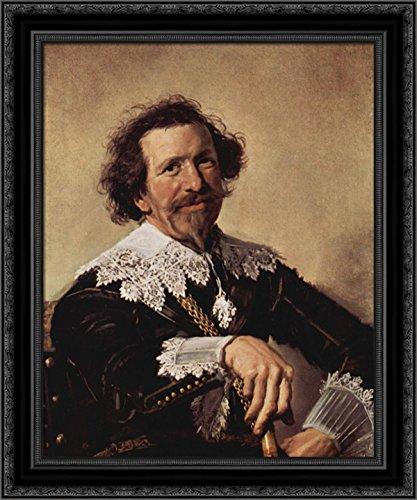Pieter Van - Pieter Van den Broecke 24x20 Black Ornate Wood Framed Canvas Art by Frans Hals