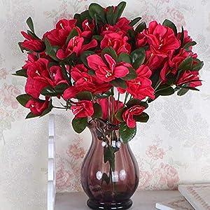 Decdeal Artificial Flowers, Red Azalea Bouquet Artificial Silk Flowers for Home Bridal Wedding Party Festival Bar Decor 26