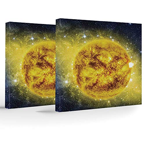 Holiday and Birthday Presents,Galaxy,Modern Home Office Decor,Panorama of Sun in Space with Luminous Effects Dynamic Center of Solar System Print ()