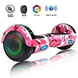 Felimoda 6.5'' Hoverboard- Self Balancing Scooter 2 Wheels Electric Scooter Dual Motors- w/UL Certified 2272 Wireless Speaker and LED Lights (Camo Pink)