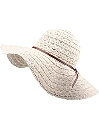 Summer Beach Sun Hats for Women UPF Woman Foldable Floppy Travel Packable  UV Hat Cotton 17c48b10874a