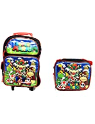 New 2017 Super Mario 3D Brother Team 16 Large Rolling/Roller Backpack Kid Boys School Plus Matching Lunch Bag