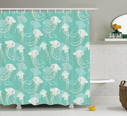 Jellyfish Shower Curtain Set by Ambesonne Decor, Marine Animal with Poisonous Tentacles Aquatic Themed Artwork Pattern, Polyester Fabric Bathroom Shower Curtain Set with Hooks, Teal Green (Bath Rug Changes Color)