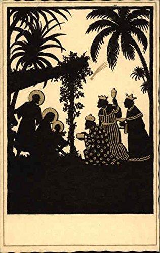 Silhouette of Nativity Scene Silhouettes Original Vintage Postcard CardCow.com