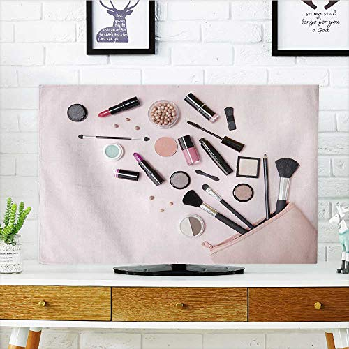Front Flip Top a Pink Makeup Bag with Cosmetic Beauty Products Spill Front Flip Top W19 x H30 INCH/TV 32