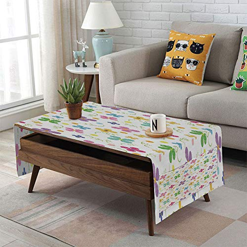 Linen Blend Tablecloth,Side Pocket Design,Rectangular Coffee Table Pad,Kids,Spring Inspired Sketch Art Style Daisy Blossoms and Dots in Lively Colors Fun Nature,Multicolor,for Home Decor