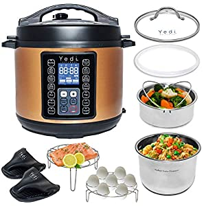 Yedi-Houseware-9-in-1-Total-Package-Instant-Programmable-Pressure-Cooker-6-Quart-Copper-Renewed