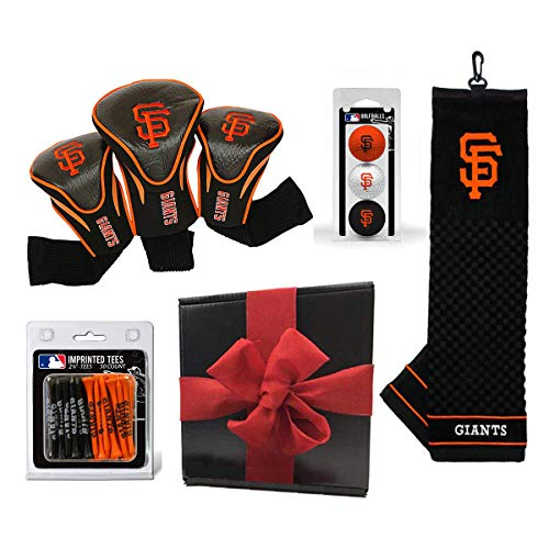 (Team Golf Ultimate MLB Golf Gift Box Bundle | Includes Headcovers (3-Pack), Team Towel, Balls (3-Pack) & Pack of Logo Tees (50-Count) | PlayBetter Gift Box, Red Bow (San Francisco Giants))
