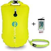 Jelkuz Jansite Zwemboei 28L met droge tas en waterdichte telefoonhoes, open water opblaasbare zwemband Float voor zwemmers, triatleten, snorkelaars en veilig zwemmen