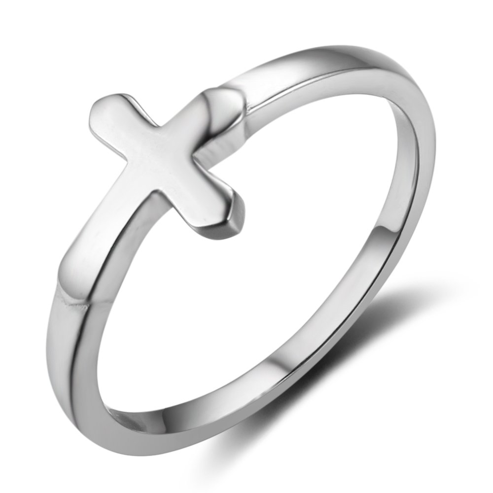 Furious Jewelry 925 Sterling Silver Simple Cross Ring, Size 6 7 8 (6)