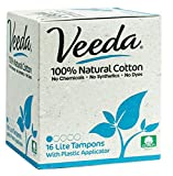 Veeda Natural All-Cotton Tampons, Lite / Light, Compact Applicator, 16 Count