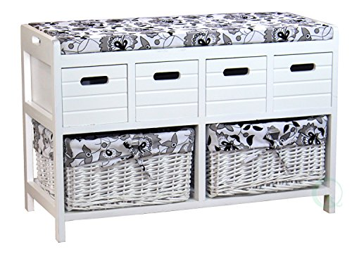 Vintiquewise(TM) Storage Bench with 4 Drawers and 2 Wicker Baskets