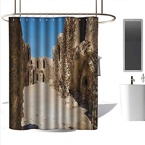 - Shower Curtains for Bathroom Sets Galaxy,One of Abandoned Sets of The Movie in The Desert Phantom Menace Antique Cave Houses,Brown Blue,W72 x L96,Shower Curtain for Shower stall