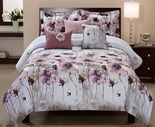 All American Collection New 6 Piece Floral Printed Comforter Set with Embroidered Cushion (King Size, Lotus)