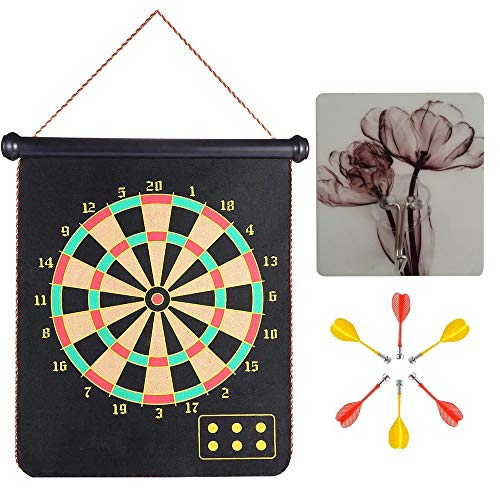 MiDenso Magnetic Dart Board with 6 Dart 1 Suction Cup for Hang up Office Home Indoor Outdoor Funny Toy Games for Kids Adults Double Sided Roll up Dartboard Set Cool Present for Him, 15 Inch