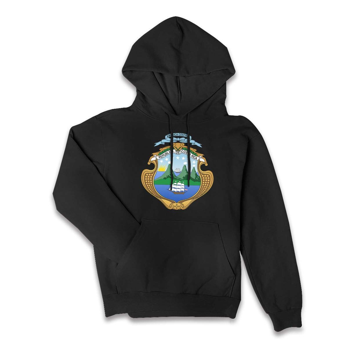 The Costa Rica Flag and Emblem Hoodie Ladies Performance Pullover Tops Hooded Blouse Pullover with Front Pocket