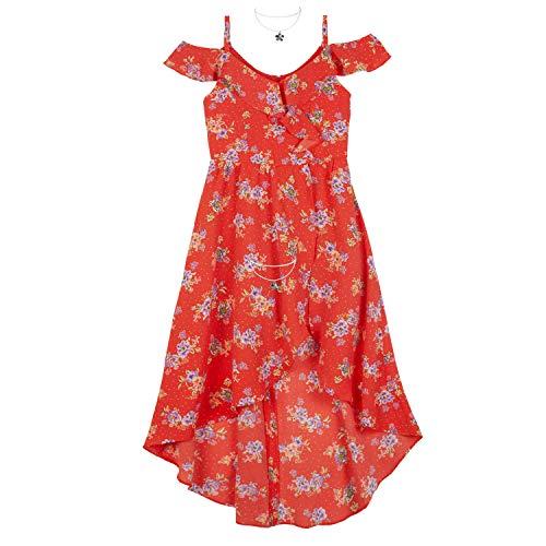 Amy Byer Girls' Big High-Low Cold Shoulder Dress, Orange/Blue Floral Bunch Polka Dots 8