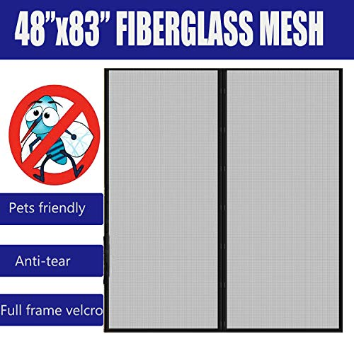Fiberglass Mesh Magnetic Screen Door 48x83 with Full Frame Velcro,Instant Mosquito and Flying Insects Bug Out Net Curtain Black