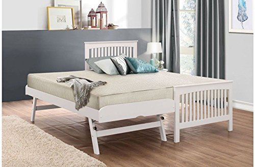 Happy Beds Toronto 3' Single Size Renowned Rubber Wooden White Guest Bed Frame by Happy Beds