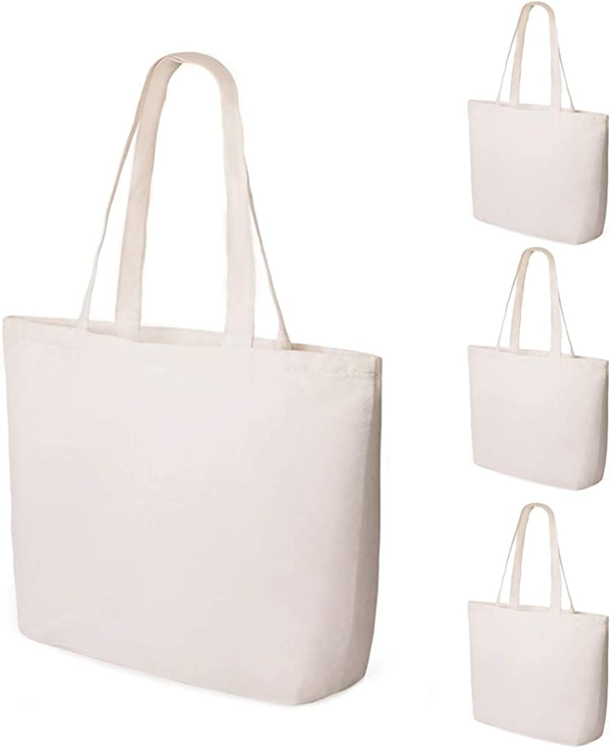 Sdootjewelry 4 Pack Canvas Tote Bag Bottom Gusset 15.7 x 3.9 x 13.4 Inches Cloth Shopping Bags with Handles Washable, Reusable Grocery Bags, Craft Canvas Bag