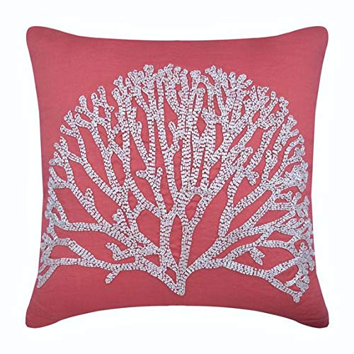 The HomeCentric Handmade Coral Pillow Cases, Beaded Tree Pillows Cover, Pillow Covers 18