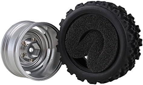 MxfansブラックフラワーパターンRubber Tyres +シルバー4-holeアルミ合金ホイールリムfor RC 1: 10オンロードレーシング車のセット4