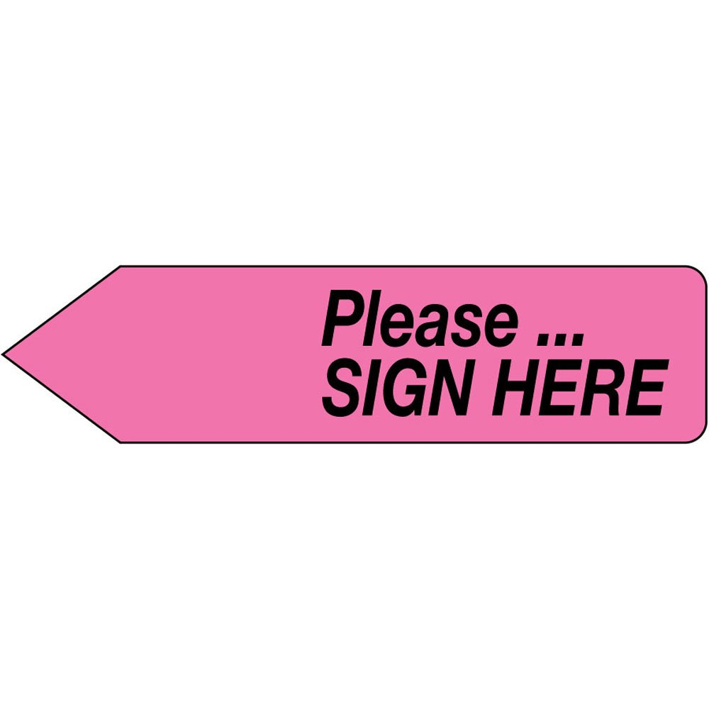 Spee-D-Point SDP-32 Flags and Tags,Please.Sign Here, Removable, 9/16 x 2 1/4, Hot Pink (Pack of 150)