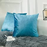 Decorative Pillow Cover - HOME BRILLIANT 2 Pack Velvet Throw Pillow Covers Set Accent Cushion Covers Square Decorative Pillowcases Set, 18x18 inch(45x45cm), Turquoise