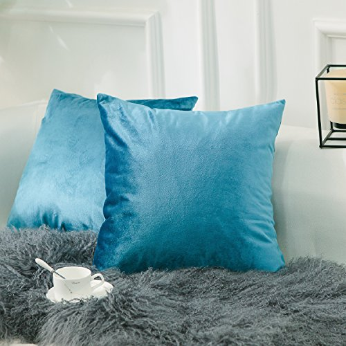 HOME BRILLIANT 2 Pack Velvet Throw Pillow Covers Set Accent Cushion Covers Square Decorative Pillowcases Set, 18x18 inch(45x45cm), Turquoise (Turquoise Velvet)