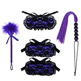 Utimi Bed Bondage Kit Restraint System Four-piece Suit Lace SM Flirting Toys for Sexy Bedroom Play in Purple