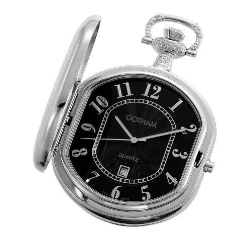 Gotham Men's Silver-Tone Swiss Quartz Pocket Watch with Desktop Stand # GWC14044SB-ST