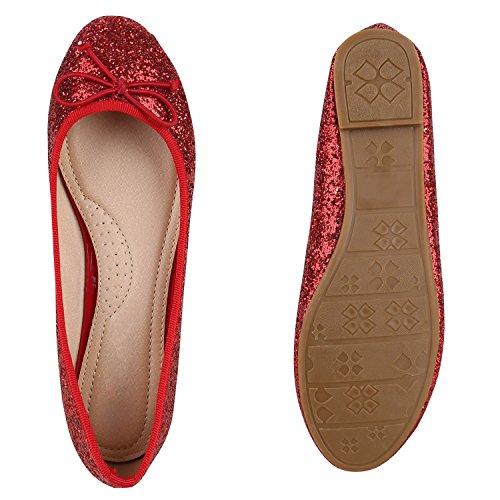 Stiefelparadies Klassische Damen Ballerinas Leder-Optik Flats Glitzer Ballerina Schuhe Schleifen Lack Slipper Übergrößen Gr. 36-44 Flandell Rot Glitzer