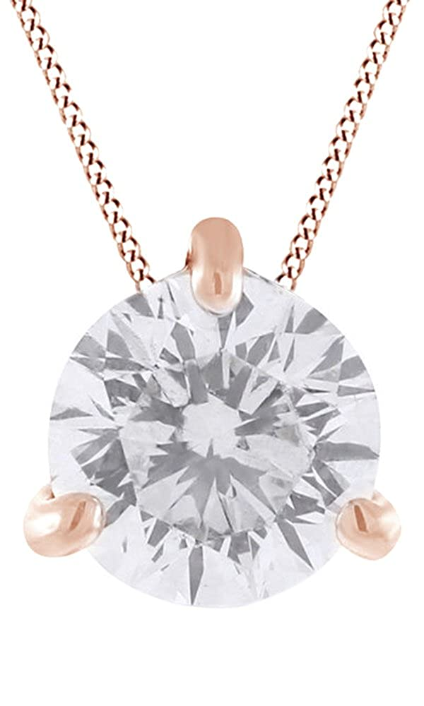 AFFY 0.5 Ct Cubic Zirconia Solitaire Pendant with Chain in 14K Gold Over Sterling Silver