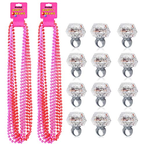 Bachelorette Party Buttons (Konsait Party Beads Necklaces(12pcs) & Light Up Engagement Diamond Rings(12pcs), Bachelorette Party Light Up Rings with Bachelorette Party Beads 33inch (Pink & Red))