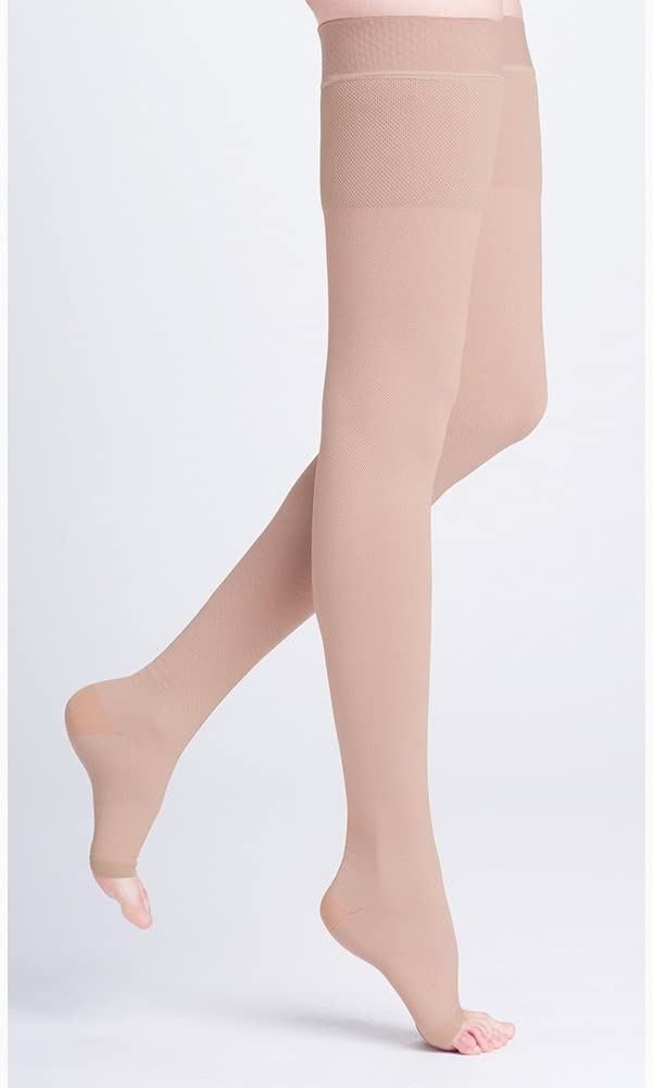 500 Natural Rubber 30-40 mmHg Open Toe Unisex Thigh High Sock with Waist Attachment Size: M3, Leg: Right