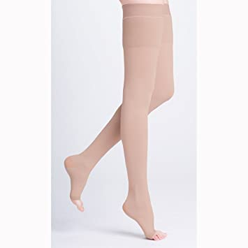9736c756b99 Image Unavailable. Image not available for. Color  Sigvaris 504NM2O77 Natural  Rubber 40-50 mmHg Open Toe Unisex Thigh High Sock with Grip