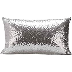 GBSELL Pillow Cover Glitter Sequins Rectangle Throw Pillow Case Cafe Home Party Christmas Decor Cushion (Silver)