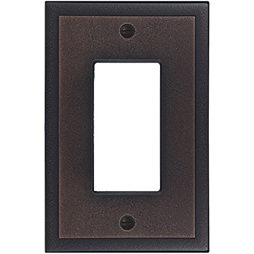 (Questech Ambient Satin Metal Composite Switch Plate/Wall Plate/Outlet Cover (Single Decorator, Oil Rubbed)