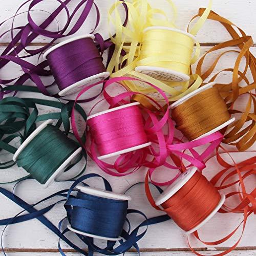 Threadart 4mm Silk Ribbon Set - Jewel Shades - Seven Spool Collection - 100% Pure Silk Ribbon - 10m (11yd) Spools - 77 Yards of Ribbon