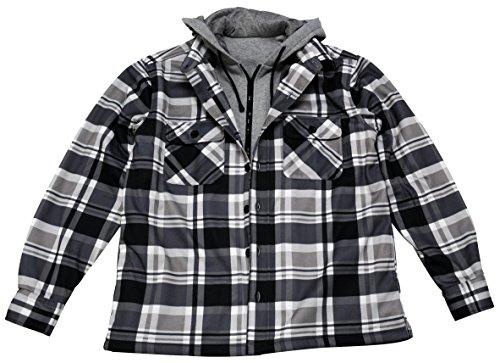 Young USA Men's Shirt Jacket With Hood Printed Plaid Full Zipper (M, Black)