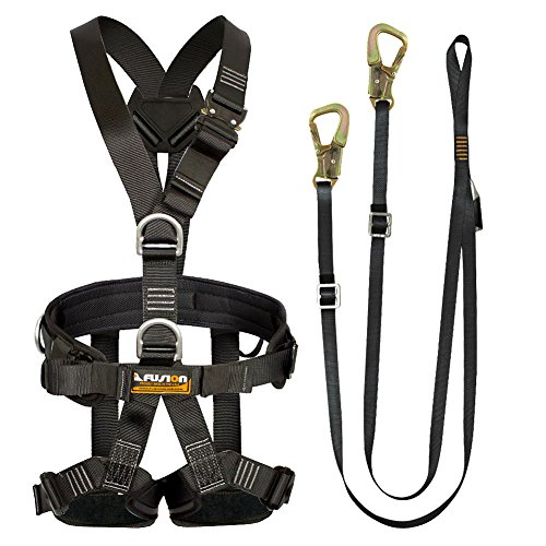 Fusion Climb Pro Backyard Zip Line Kit Harness Lanyard Bundle FK-A-HL-08