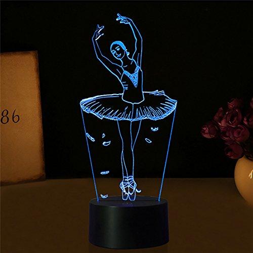 3D Illusion Night Light for Kids Nursery Bedroom, 7 Color Changing Birthday Gift (Ballerina)
